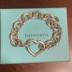 Tiffany and Co. link bracelet with heart clasp